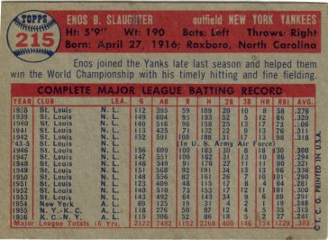 the back of a typical Topps card, this one Enos Slaughter's 1957 card