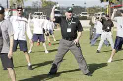 An MLB umpire conducting a training exercise
