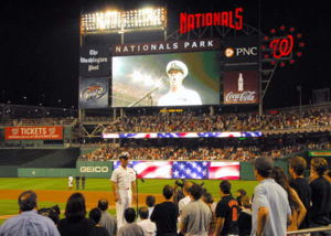 The U.S. Navy Band performs during the 7th-inning stretch on June 27, 2008