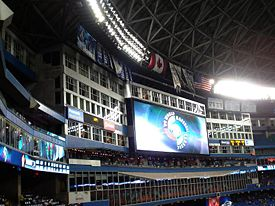 World Baseball Classic ad on the Jumbotron at the Rogers Centre