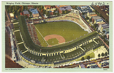 Wrigley on a postcard from 1930-1945