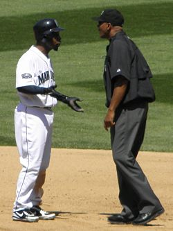 C.B. Bucknor arguing with Chone Figgins