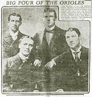 Kelly (far left) with Willie Keeler. John McGraw, and Hughey Jennings in 1905.